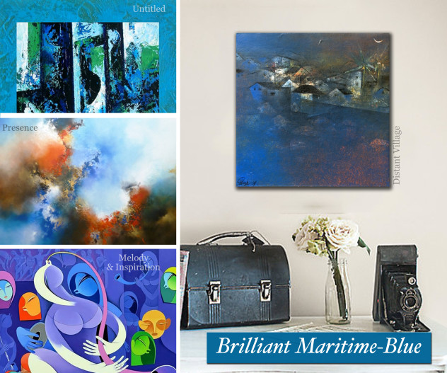 Brilliant Maritime Blue coloured works on Artflute.com