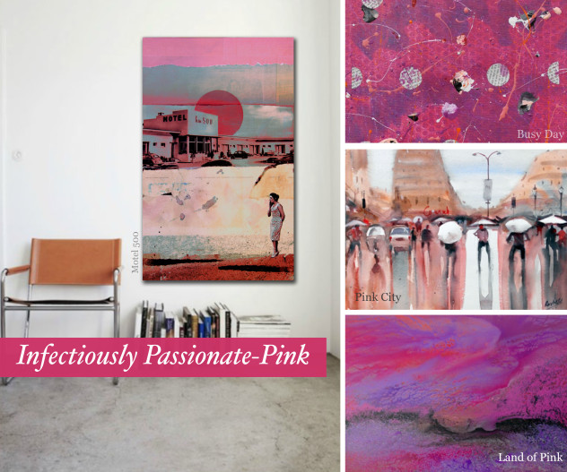 Infectiously Passionate Pink coloured works on Artflute.com